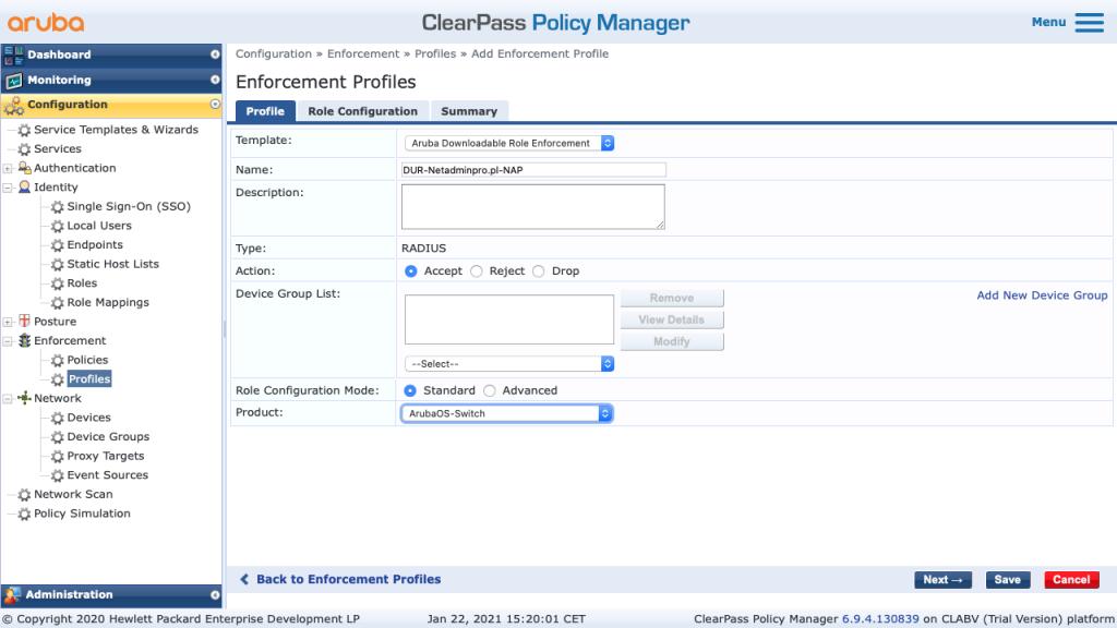 Clearpass Aruba Downloadable User Role Enforcement - Dynamic Segmentation