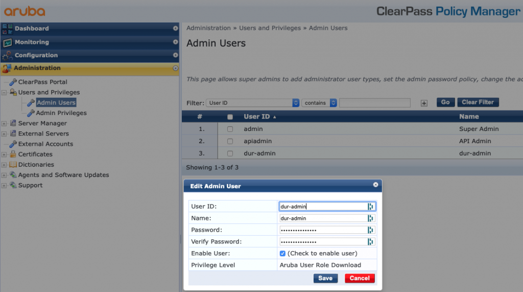 Clearpass DUR Admin Aruba Role Download