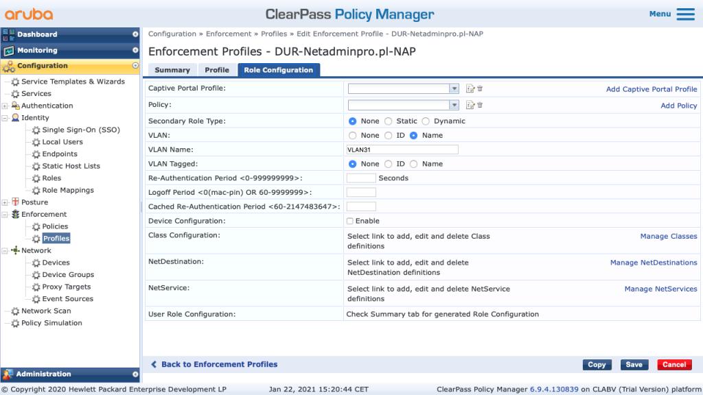 Clearpass Enforcement Profile Role Configuration