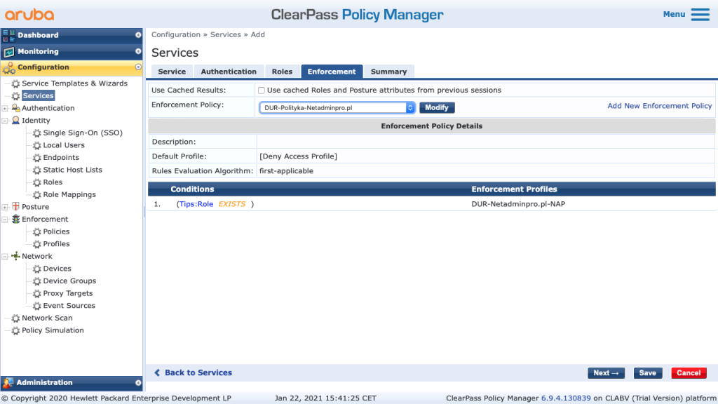 Clearpass Enforcemnt Policy