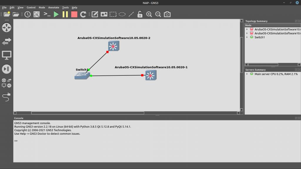 Przykładowy schemat zawierający dodany switch ArubaCX